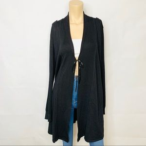 WHBM Long Cardigan Sweater Black w Pockets Sz XL